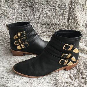 Loeffler Randall leather boots w/buckles size 11
